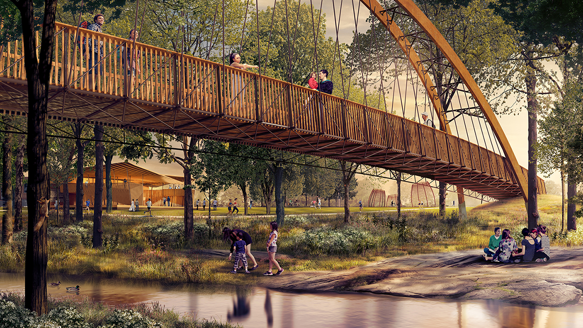 Unity Park rendering of pedestrian bridge over Reedy River