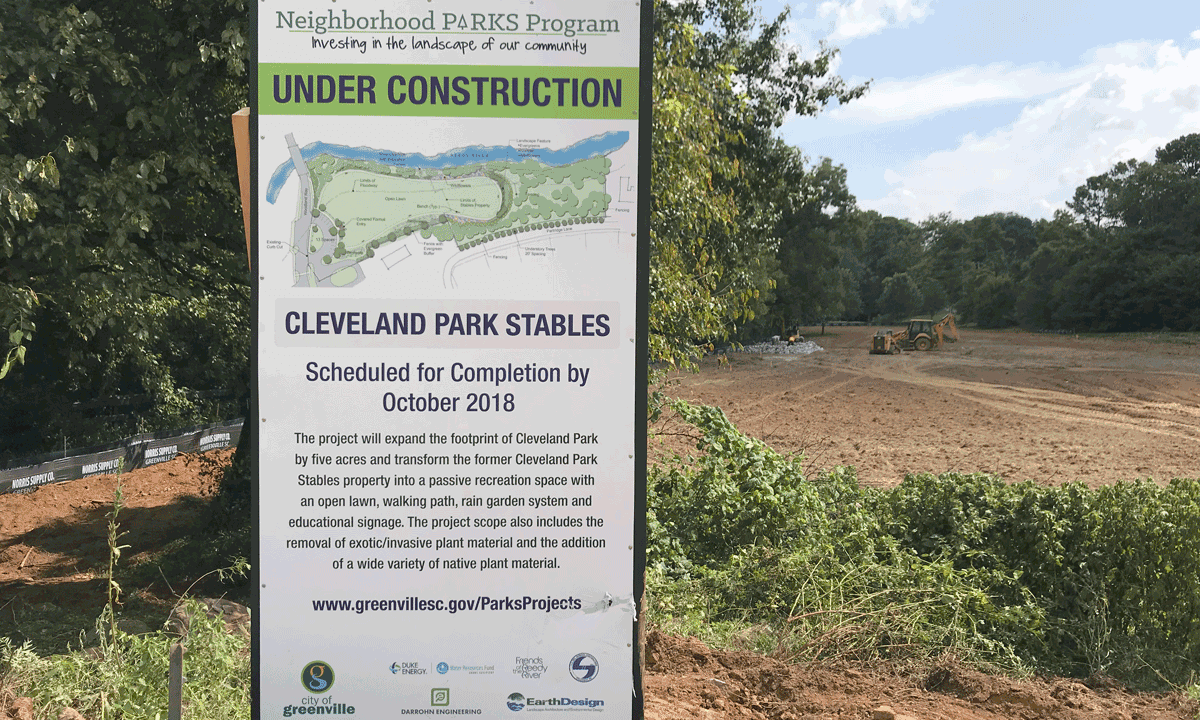 Image of construction sign on site at Cleveland Park Stables