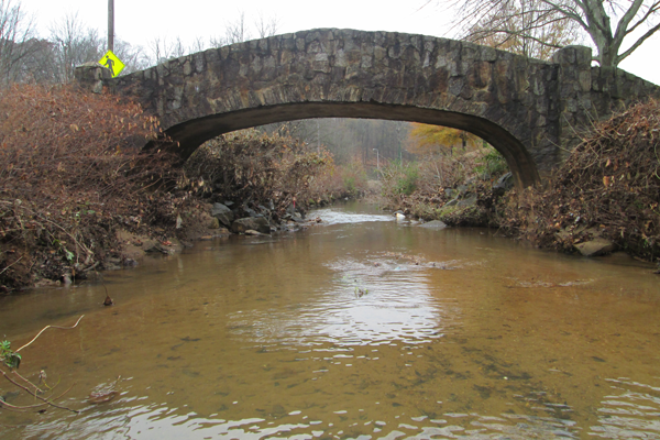 Photo of a bridge with Richland Creek flowing underneath