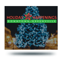 Christmas tree with Holiday Happengs logo in foreground
