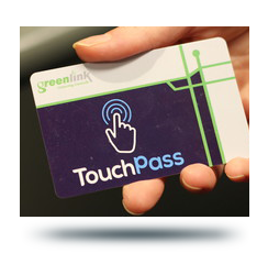 image of a hand holding a Touchpass card