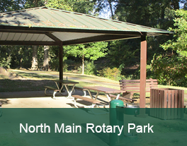 Photo of picnic shelter with words North Main Rotary Park