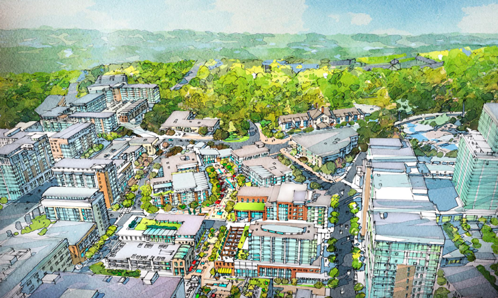 Rendering of a possible future view of the east side of downtown Greenville