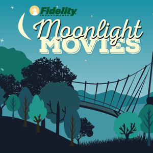 Moonlight Movies logo on the backdrop of an illustration of the Liberty Bridge