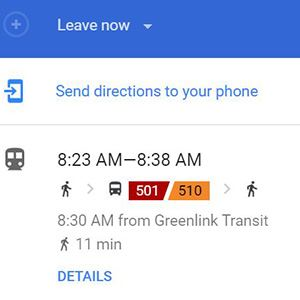 Google Maps screenshot showing real-time arrival information