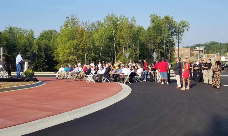Crowd gathered for the grand opening of Parallel Parkway