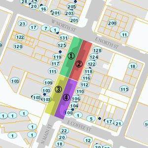 Map showing on-street parking closures along Main Street