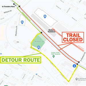 map showing detour around Unity Park