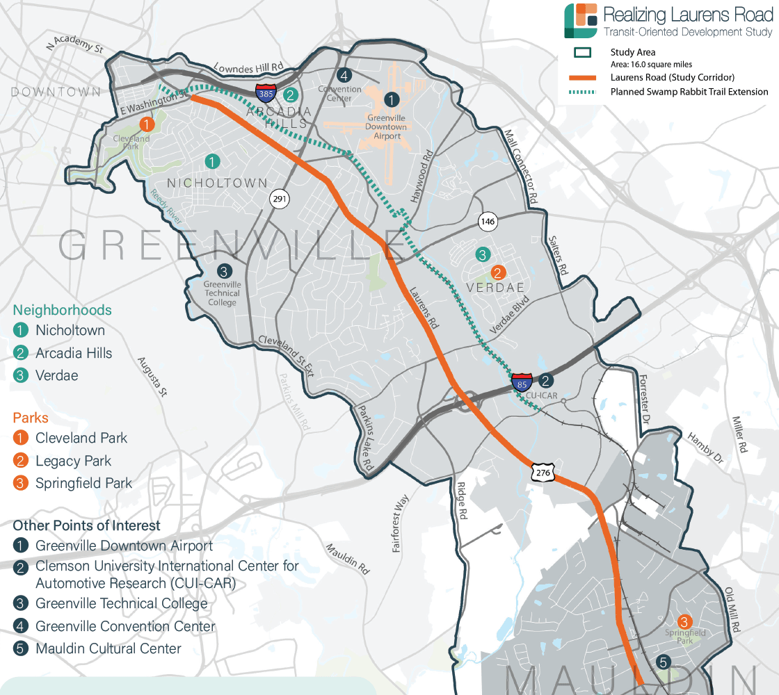 map of Laurens Road study area from downtown Greenville to downtown Mauldin