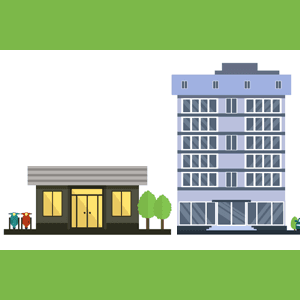 Illustration of a house and a large office building side by side.