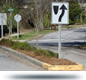 photo of landscape median used for traffic calming